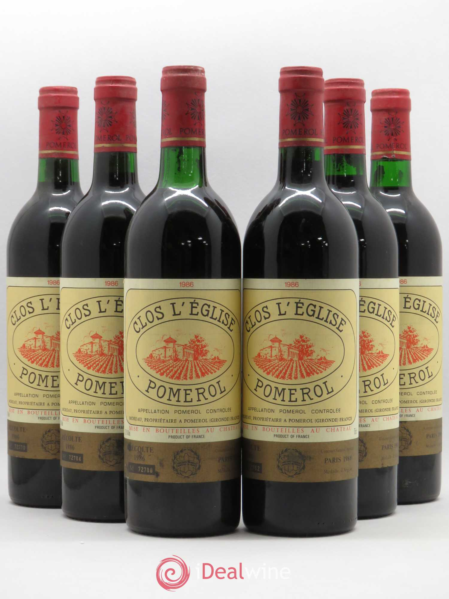 Clos l'Église (no reserve) 1986 - Lot of 6 Bottles