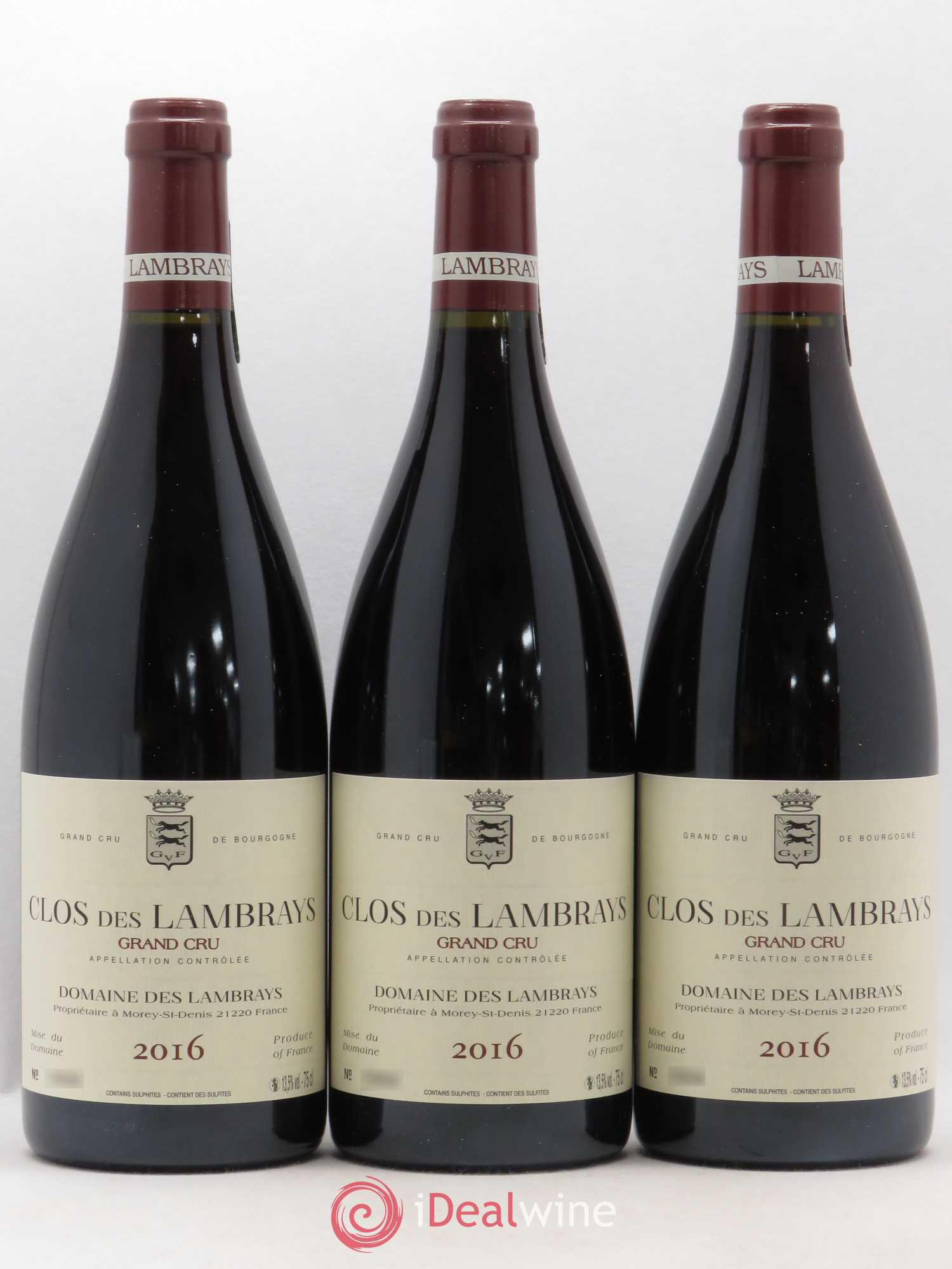 Clos des Lambrays Grand Cru Domaine des Lambrays  2016 - Lot of 3 Bottles