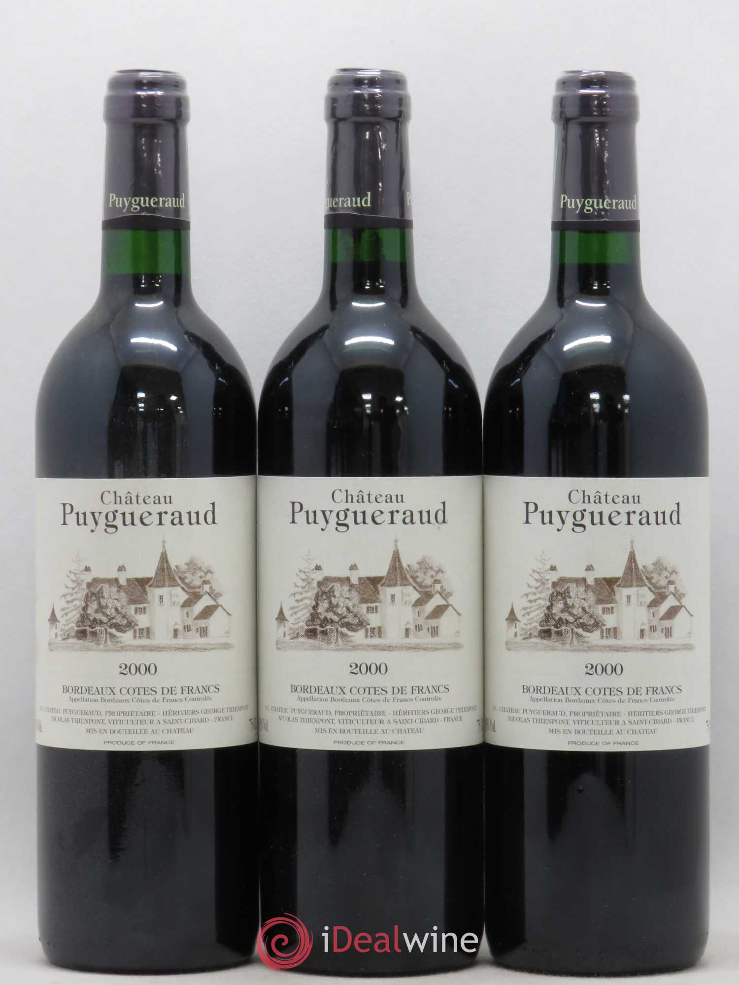 Puygueraud (no reserve) 2000 - Lot of 3 Bottles