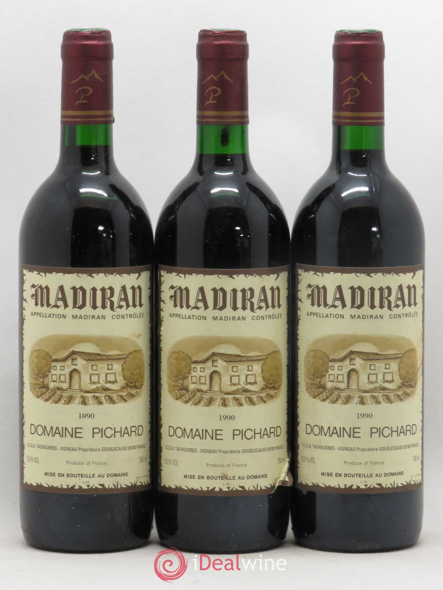 Madiran Pichard (no reserve) 1990 - Lot of 3 Bottles
