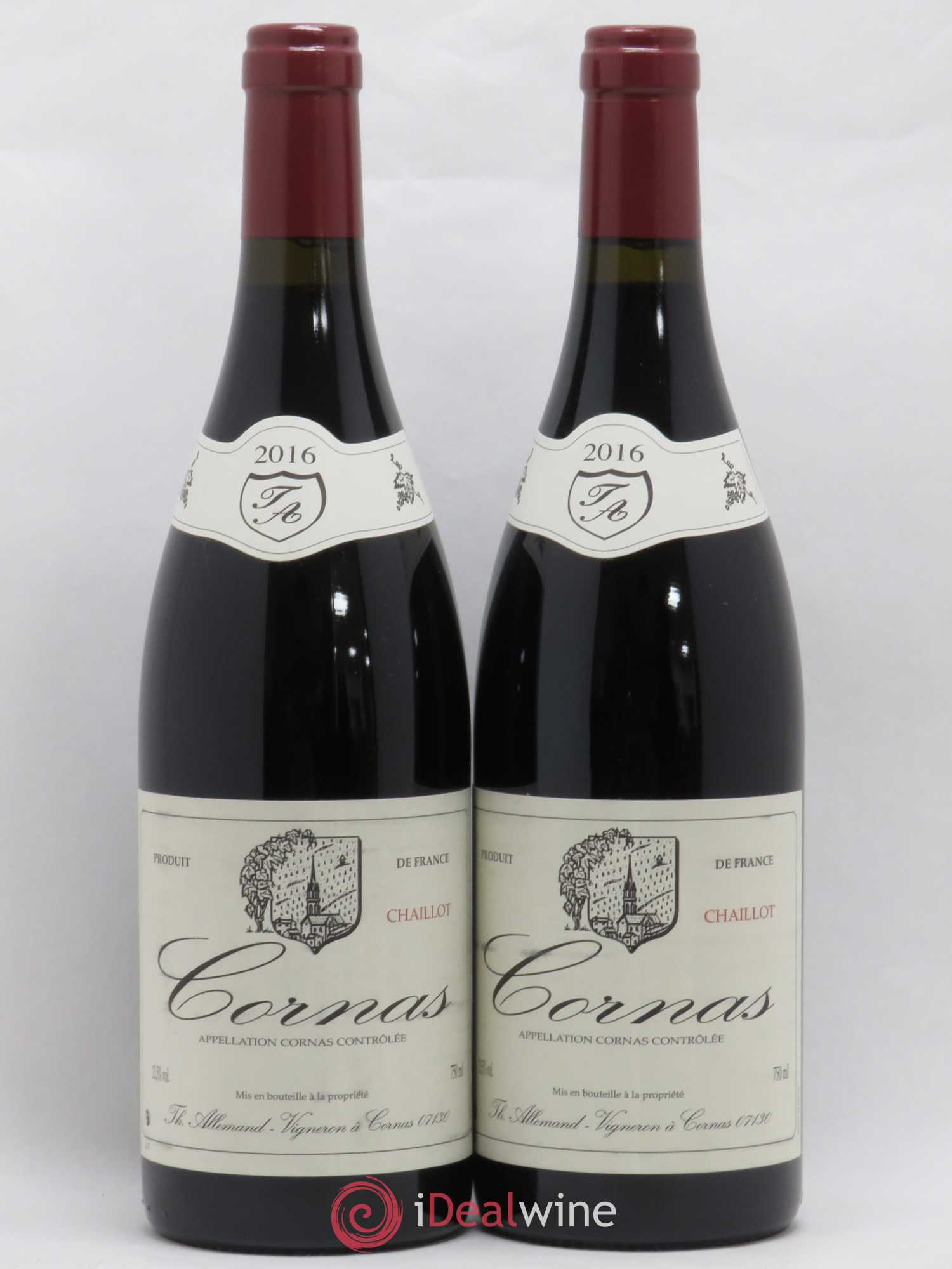 Cornas Chaillot Thierry Allemand  2016 - Lot of 2 Bottles