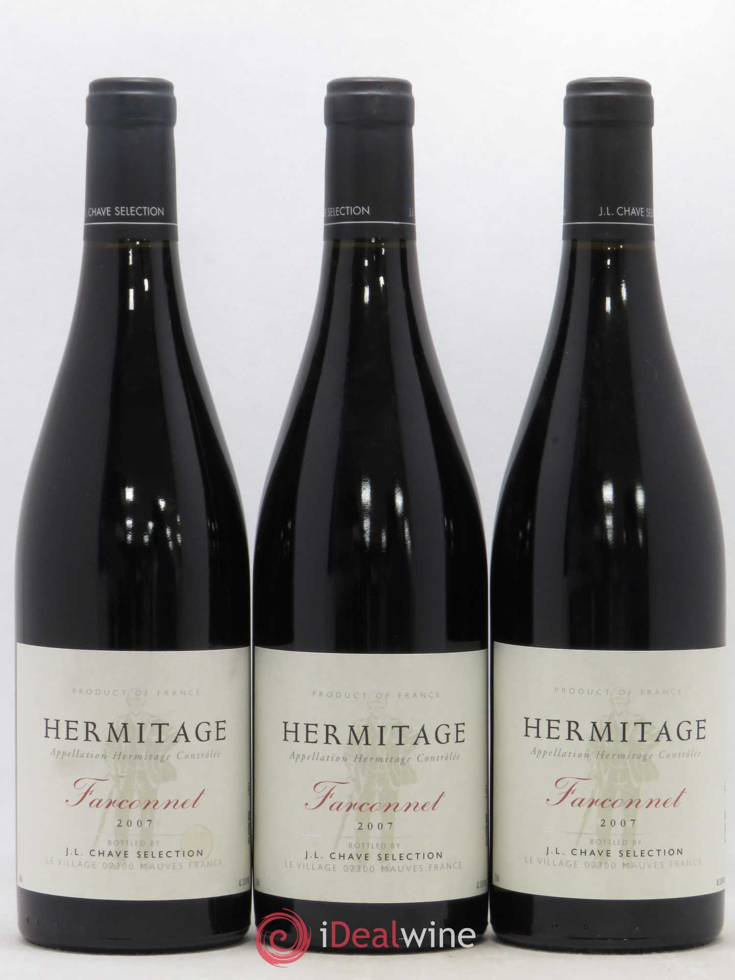 Hermitage Le Farconnet Jean-Louis Chave  2007 - Lot of 3 Bottles