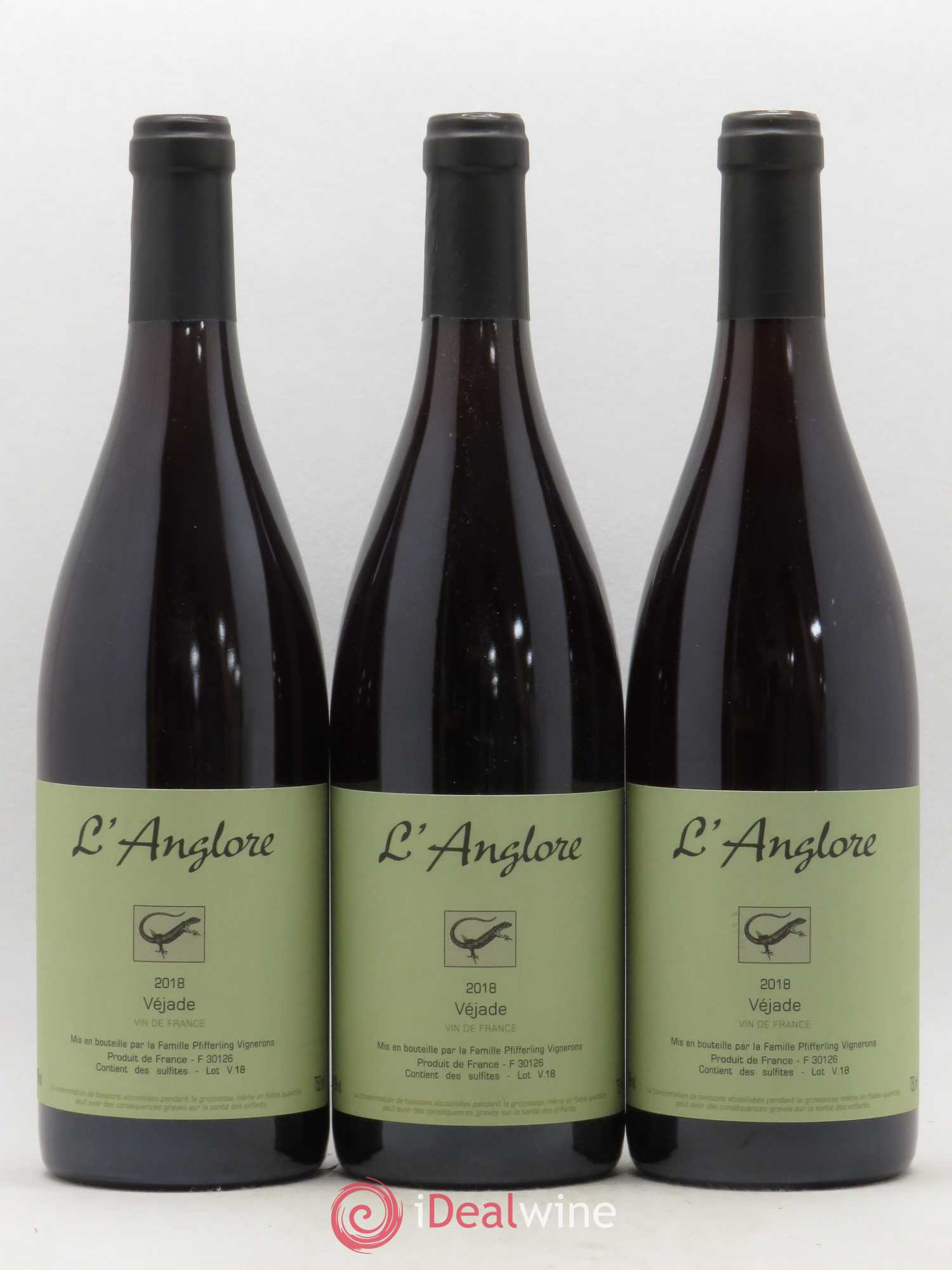 Vin de France Véjade L'Anglore  2018 - Lot of 3 Bottles