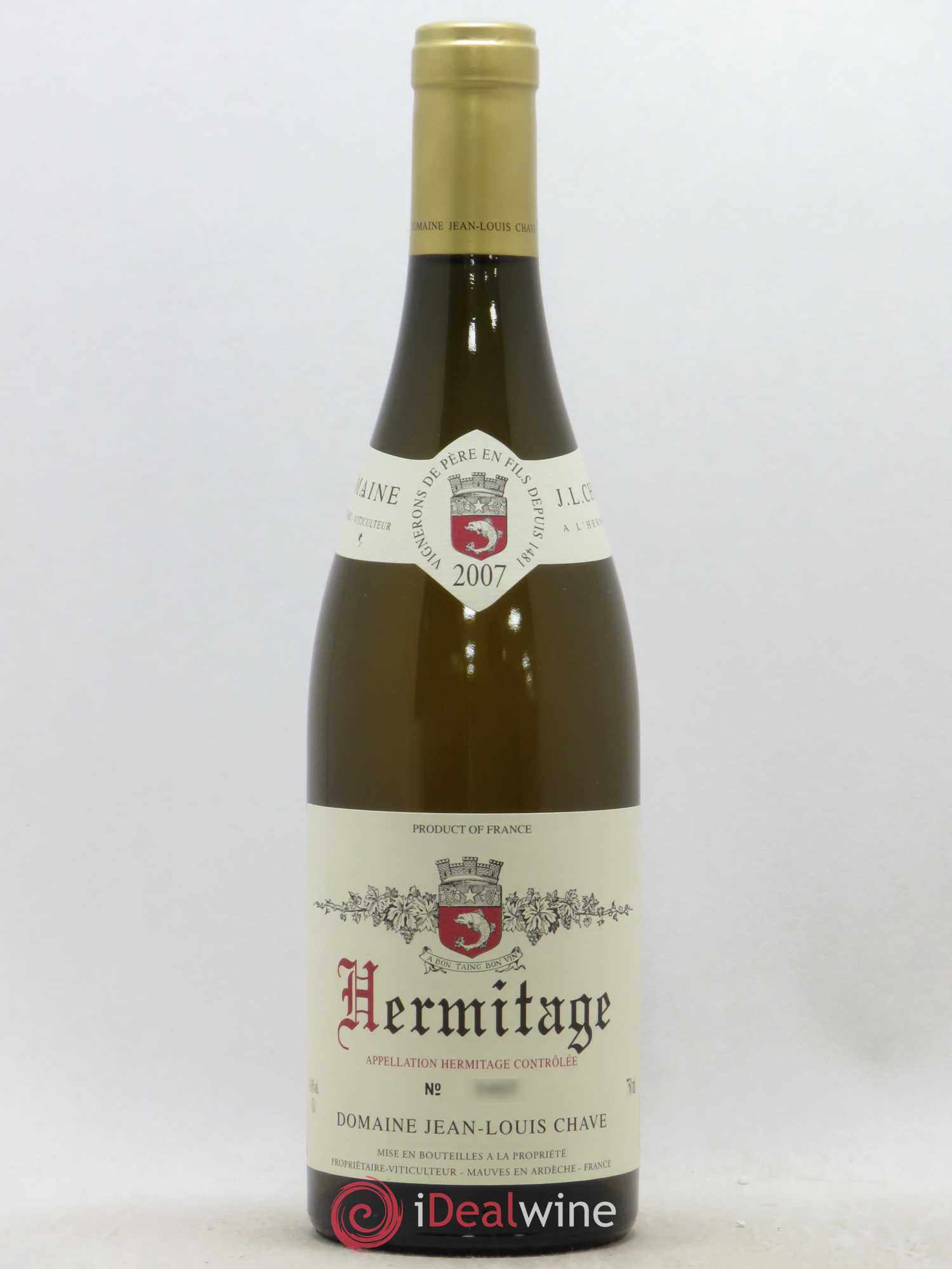 Hermitage Jean-Louis Chave  2007 - Lot of 1 Bottle
