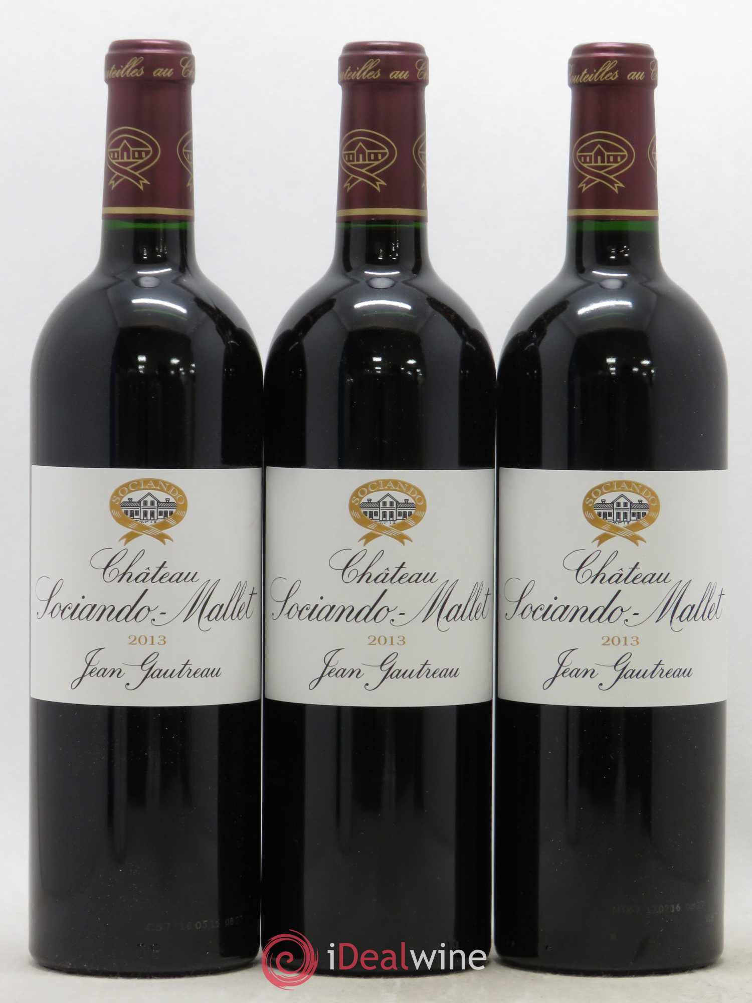 Château Sociando Mallet  2013 - Lot of 3 Bottles