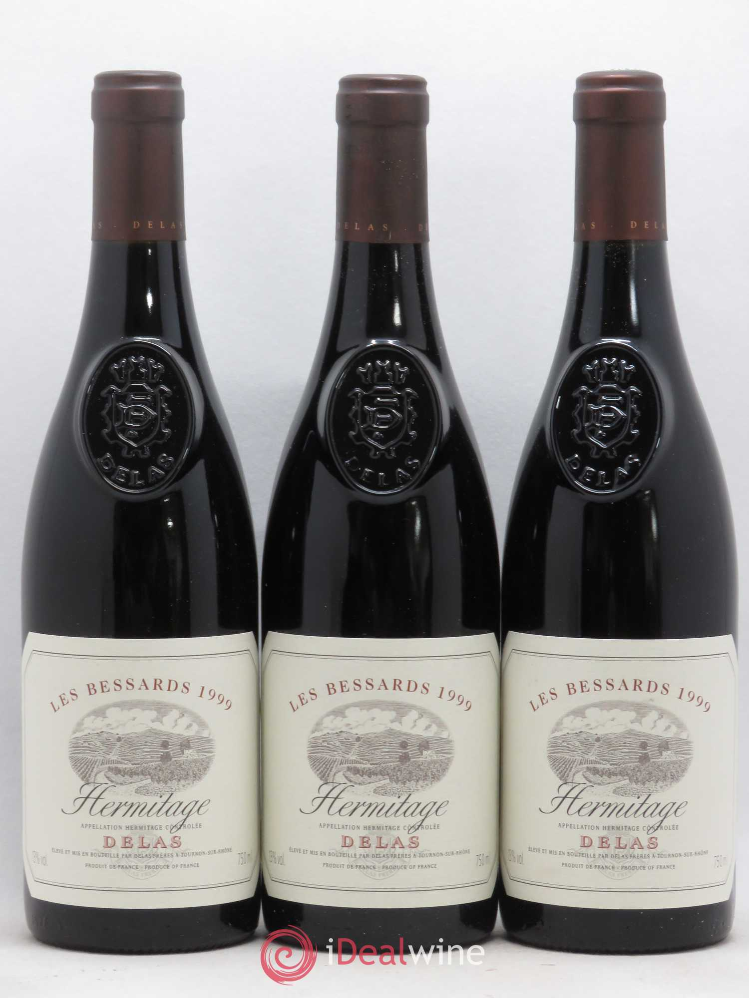 Hermitage Les Bessards Delas Frères  1999 - Lot of 3 Bottles
