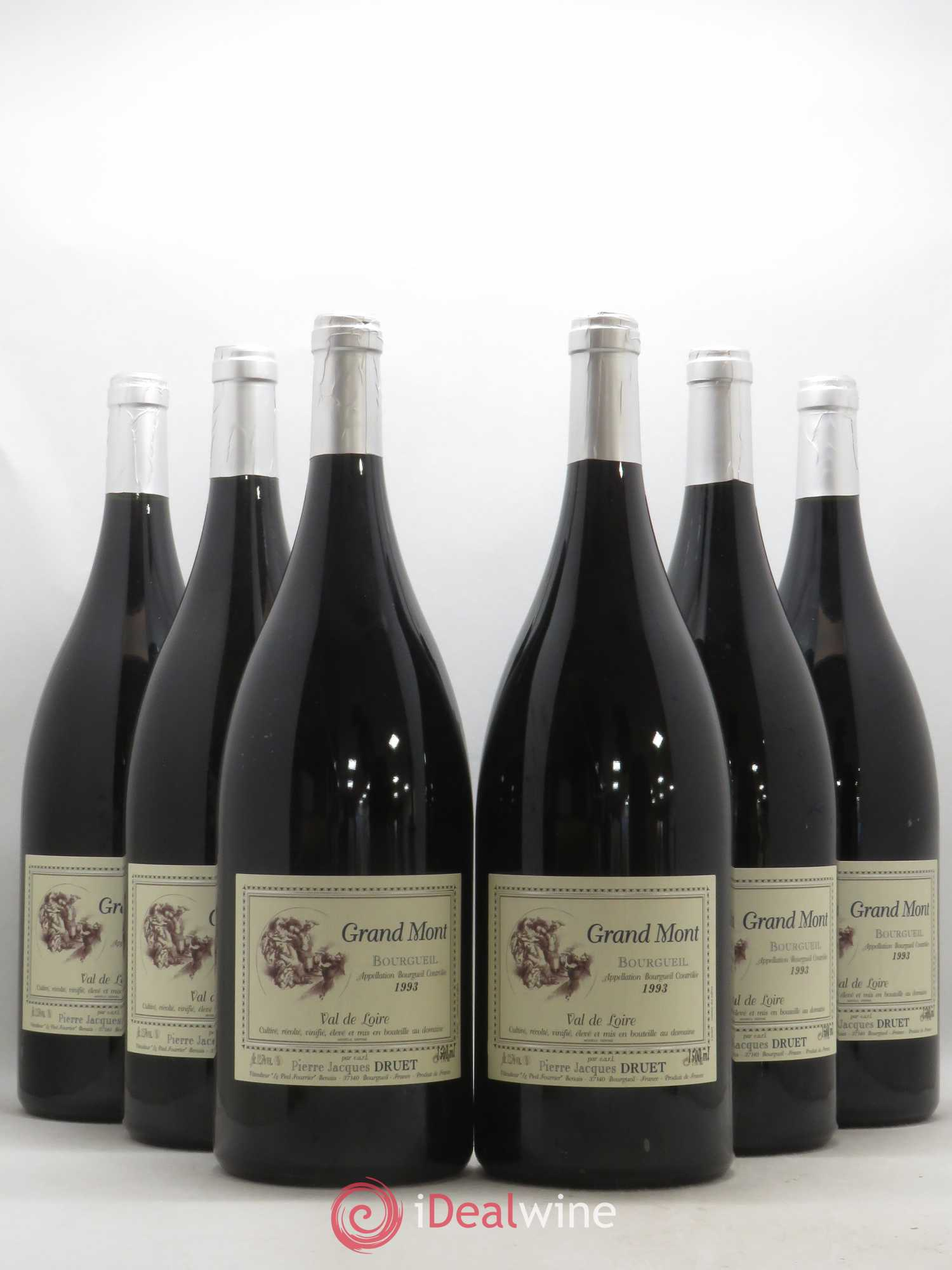 Bourgueil Grand Mont Pierre Jacques Druet  1993 - Lot of 6 Magnums