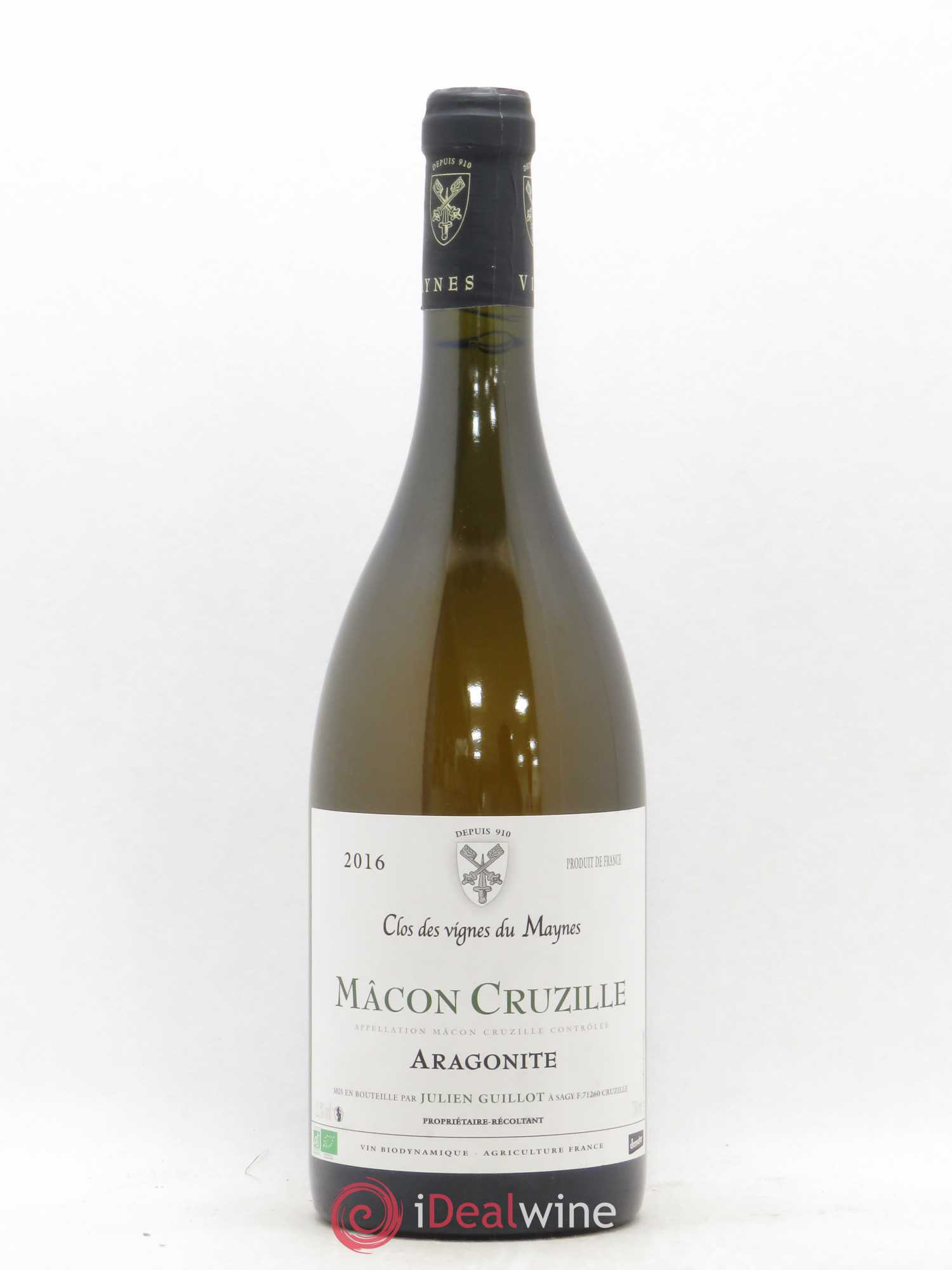 Mâcon Cruzille Aragonite Clos des Vignes du Maynes - Julien Guillot  2016 - Lot of 1 Bottle