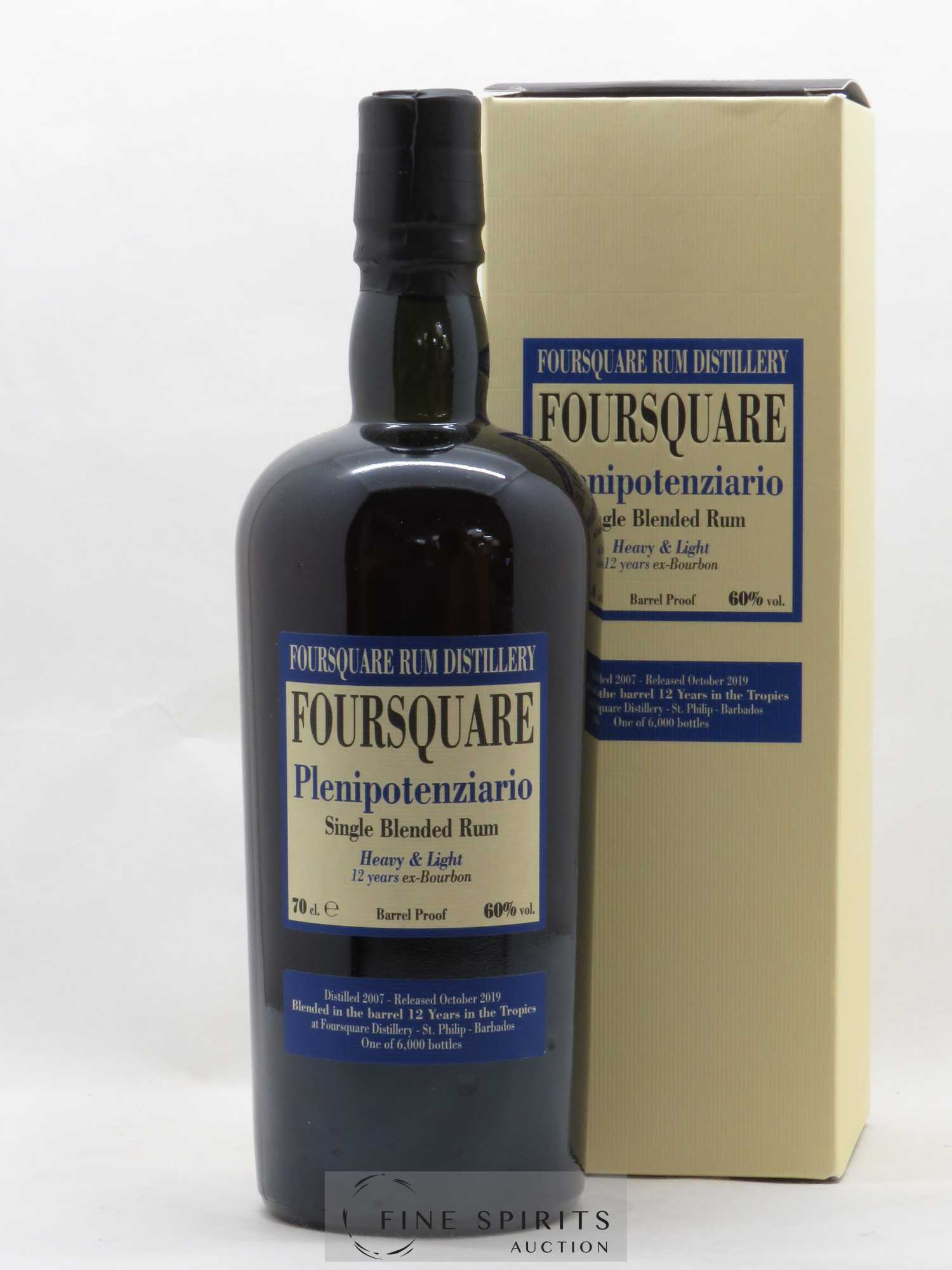 Rhum Foursquare 12 years 2007 Of. Plenipotenziario   - Lot de 1 Bouteille