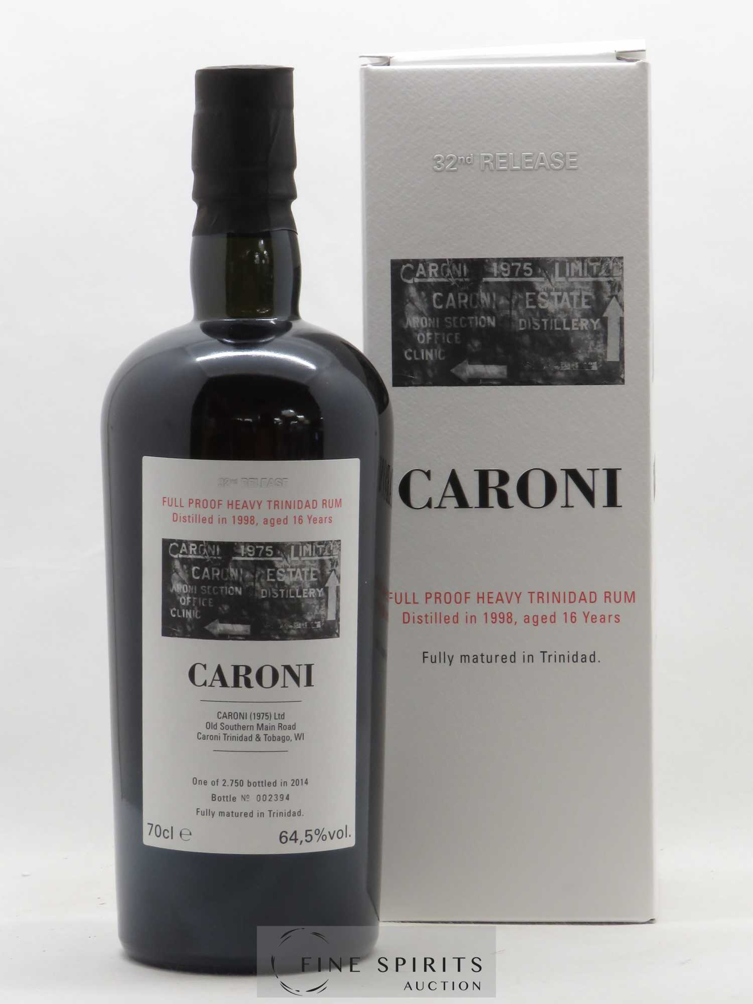 Rhum Caroni 16 years 1998 Velier 32nd Release Full Proof Heavy   - Lot de 1 Bouteille