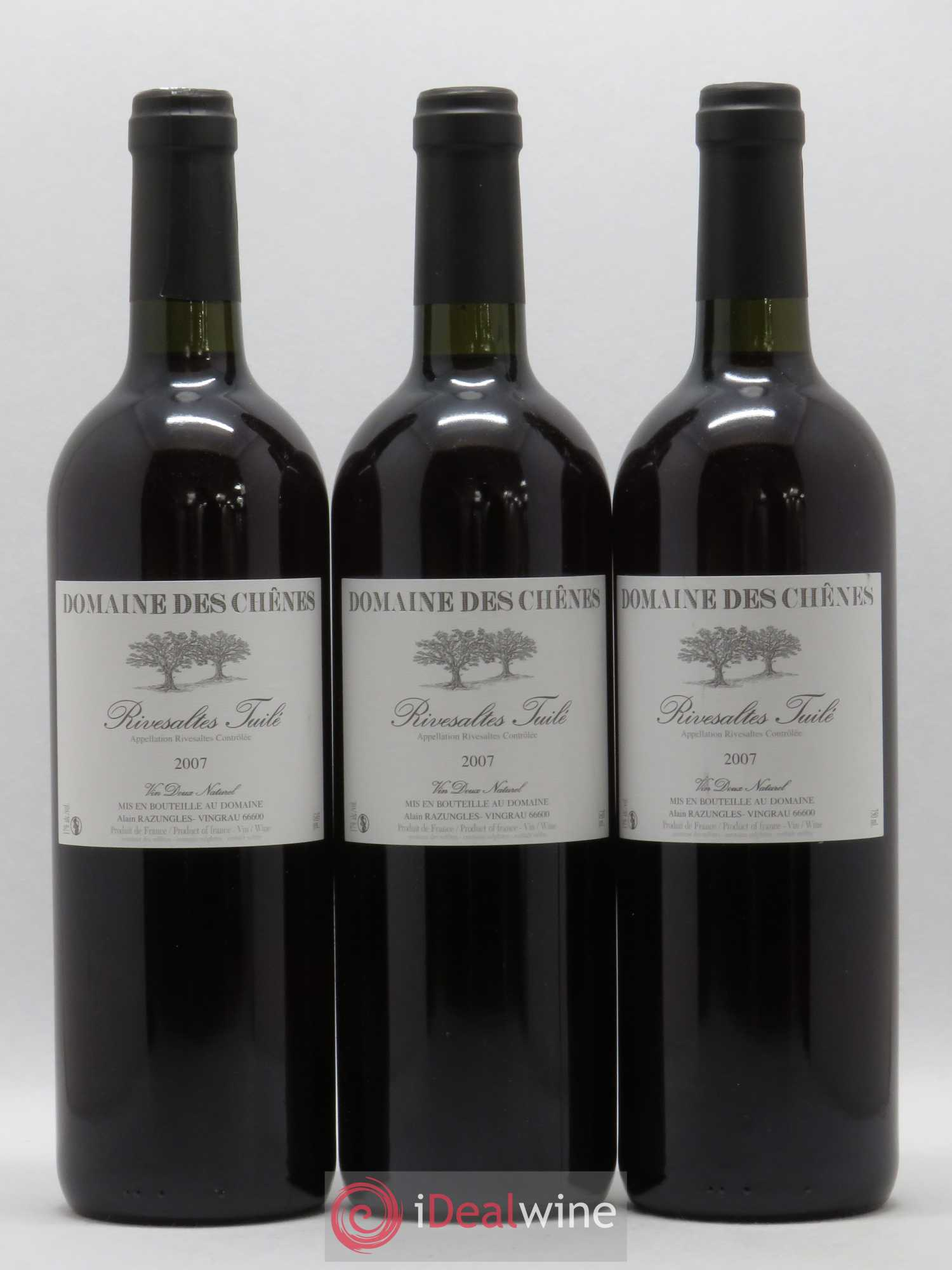 Rivesaltes Domaine des Chenes (no reserve) 2007 - Lot of 3 Bottles