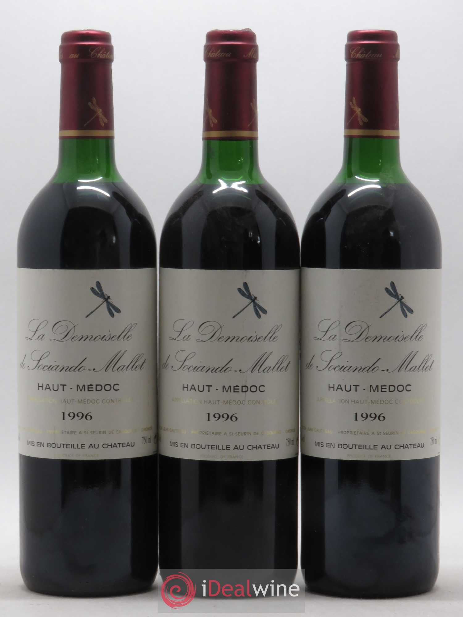 Demoiselle de Sociando Mallet Second Vin  1996 - Lot of 3 Bottles