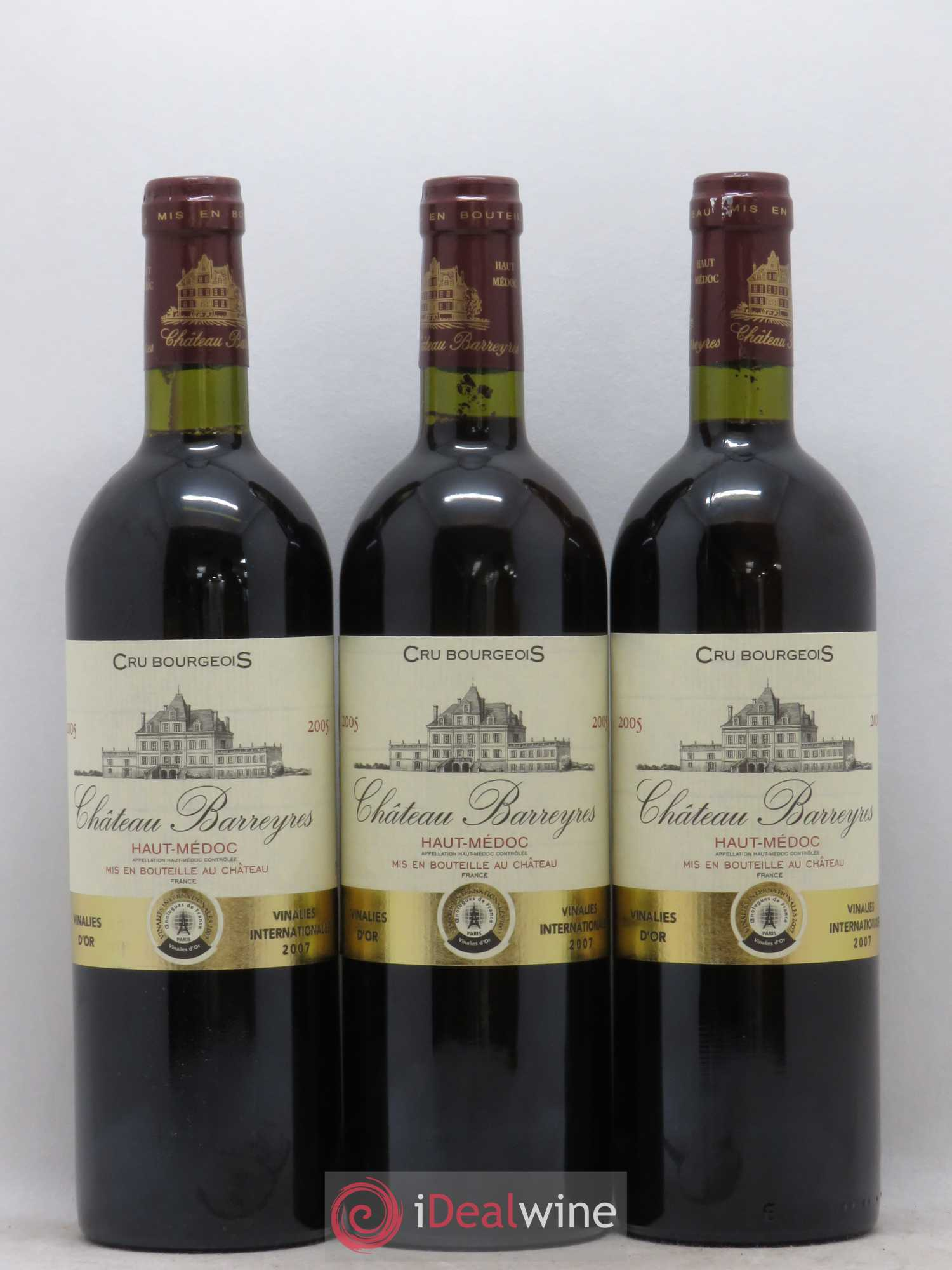 Château Barreyres Cru Bourgeois  2005 - Lot of 3 Bottles