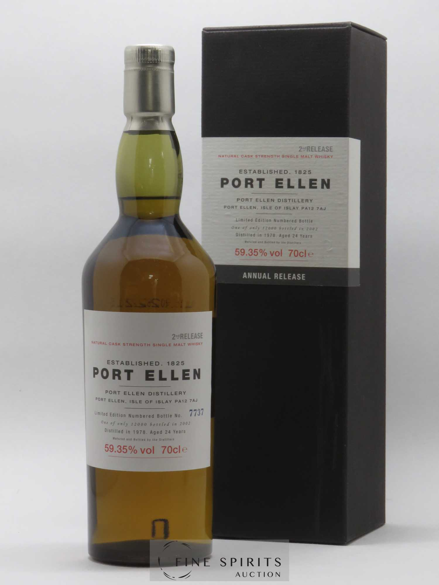 Port Ellen 24 years 1978 Of. Natural Cask Strengh 2nd Release - bottled in 2002 Limited Edition   - Lot de 1 Bouteille