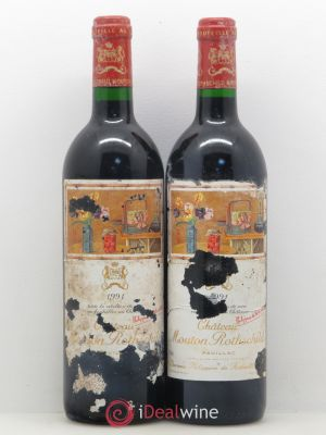Château Mouton Rothschild 1er Grand Cru Classé  1991 - Lot de 2 Bottles