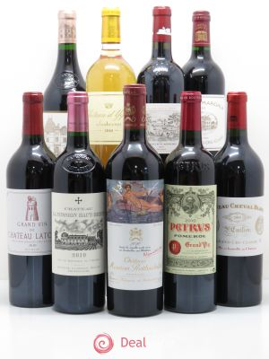 Caisse Collection Duclot 1 Petrus - 1 Cheval Blanc - 1 La Mission Haut Brion - 1 Haut Brion - 1 Margaux - 1 Lafite Rothschild - 1 Latour - 1 Yquem - 1 Mouton Rothschild 2010 - Lot de 9 Bouteilles