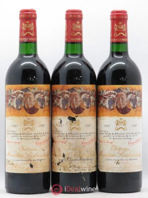 Château Mouton Rothschild 1er Grand Cru Classé  1987 - Lot de 3 Bottles