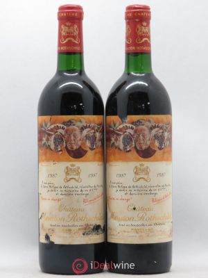 Château Mouton Rothschild 1er Grand Cru Classé  1987 - Lot de 2 Bottles