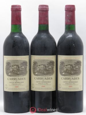 Carruades de Lafite Rothschild Second vin  1985 - Lot de 3 Bouteilles