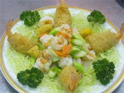 Crevettes croustillantes en deux façons aux asperges