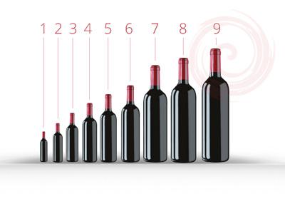 bouteille de vin hauteur
